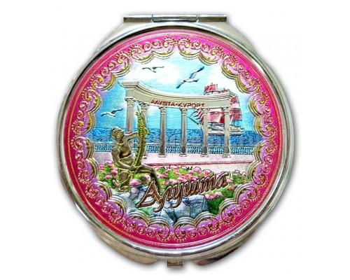 Зеркальце УС (ZF-16) Крым 2х стор. Алушта 2 вида 72мм (12/144)