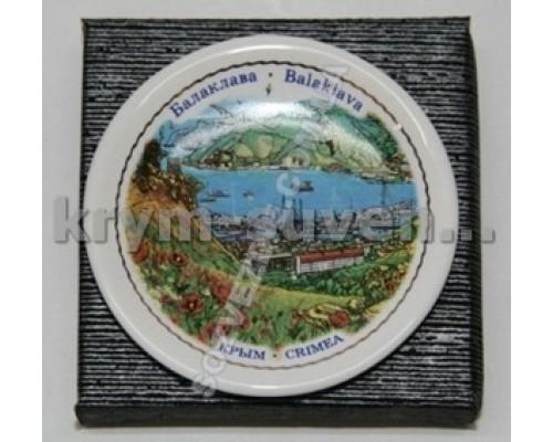 Магнит фарфор. ADV тарелочка Балаклава, панорама бухты