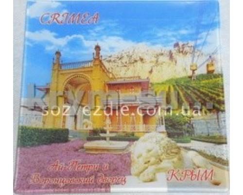 Пано-тарелка (US) Воронцовский дворец стекло цв 16см 6013 (с подст.) (6/96)