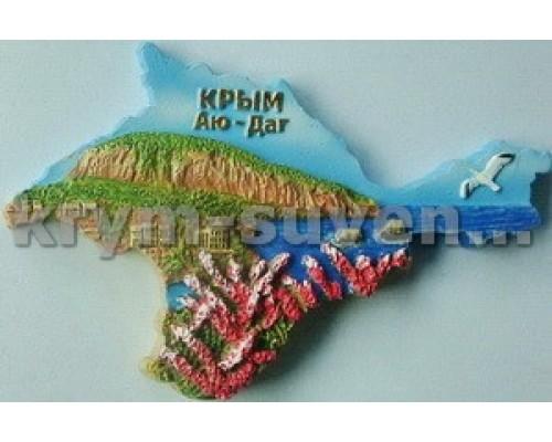 Гурзуф Аю-Даг Крым контур (G-108) магнит керамический УС (12/288)