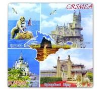 Пано-тарелка (US) Крым Коллаж стекло цв 21см 8005 (с подст.) (6/48)