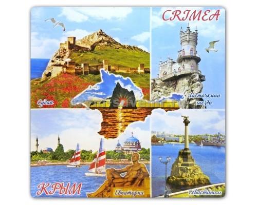 Пано-тарелка (US) Крым Коллаж тарелка стекло цв 21см 8011 (с подст.) (6/48)