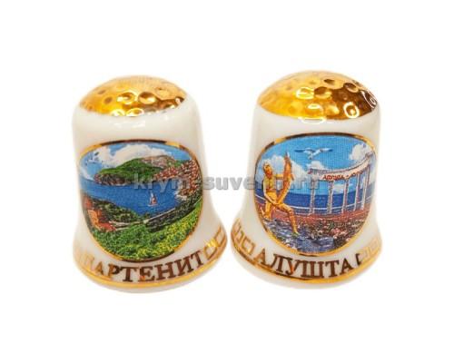 Наперсток керам. (13140A) Крым бел/зол Алушта - Малореченское - Партенит (24/720)
