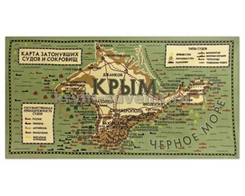 Полотенце МИКРОФИБРА (SS-1510) Крым, карта затонувших судов БОЛЬШОЕ