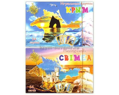 Карты игральные US 54 Крым: Золотые ворота, Ласточкино гнездо в контуре Крыма (CCR-105-6) уп. 200 шт.
