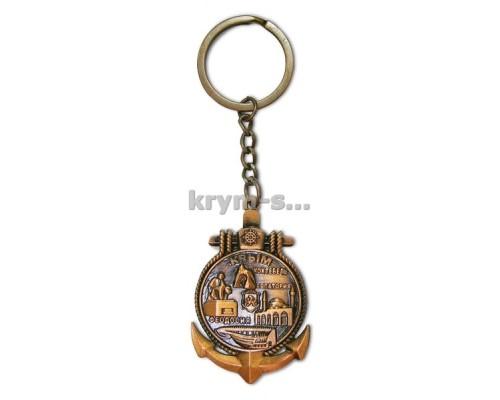 Брелок Крым (key 19В) якорь коллаж  бронза 12 шт./уп.
